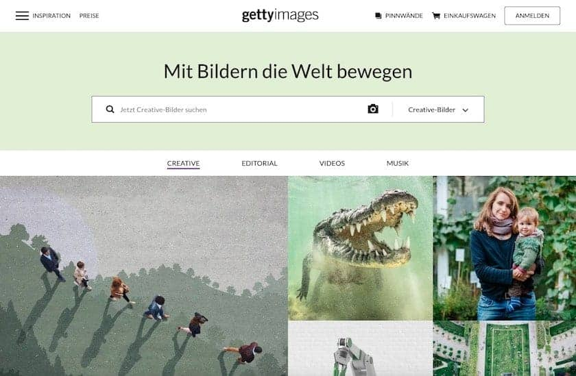Screenshot der Getty Images Webseite
