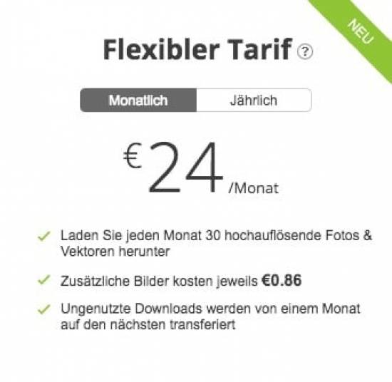 Flexibler Tarif alternativ zu Shutterstock Abonnement